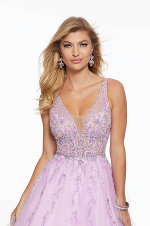 Morilee 43084 prom dress images.  Morilee 43084 is available in these colors: Bahama Blue, Light Purple.