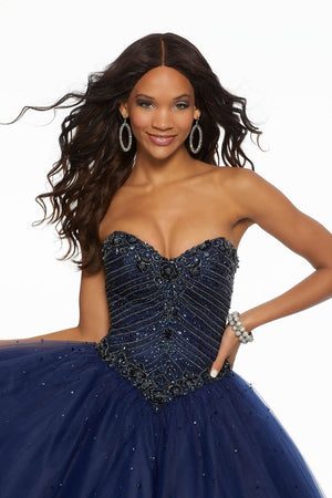 Morilee 43087 prom dress images.  Morilee 43087 is available in these colors: Blush, Navy, White.