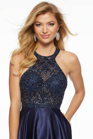 Morilee 43090 prom dress images.  Morilee 43090 is available in these colors: Jade, Navy.