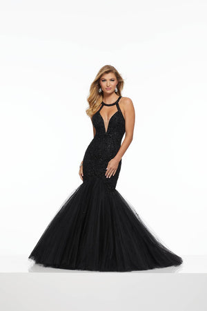 Morilee 43095 prom dress images.  Morilee 43095 is available in these colors: Black, Deep Purple, Nude.