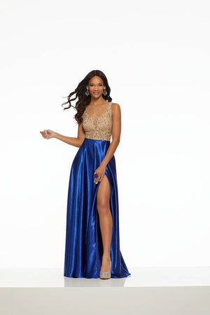 Morilee 43099 prom dress images.  Morilee 43099 is available in these colors: Red, Royal.