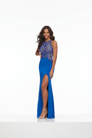 Morilee 43105 prom dress images.  Morilee 43105 is available in these colors: Black, Royal.