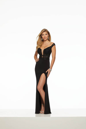 Morilee 43108 prom dress images.  Morilee 43108 is available in these colors: Black, Red.