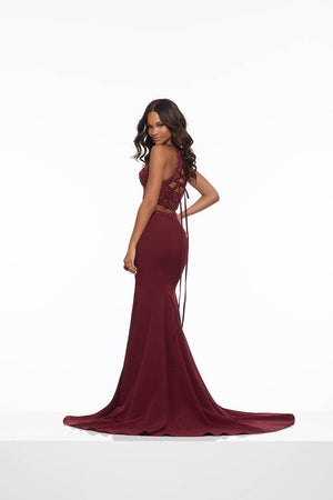 Morilee 43117 prom dress images.  Morilee 43117 is available in these colors: Sapphire, Wine.