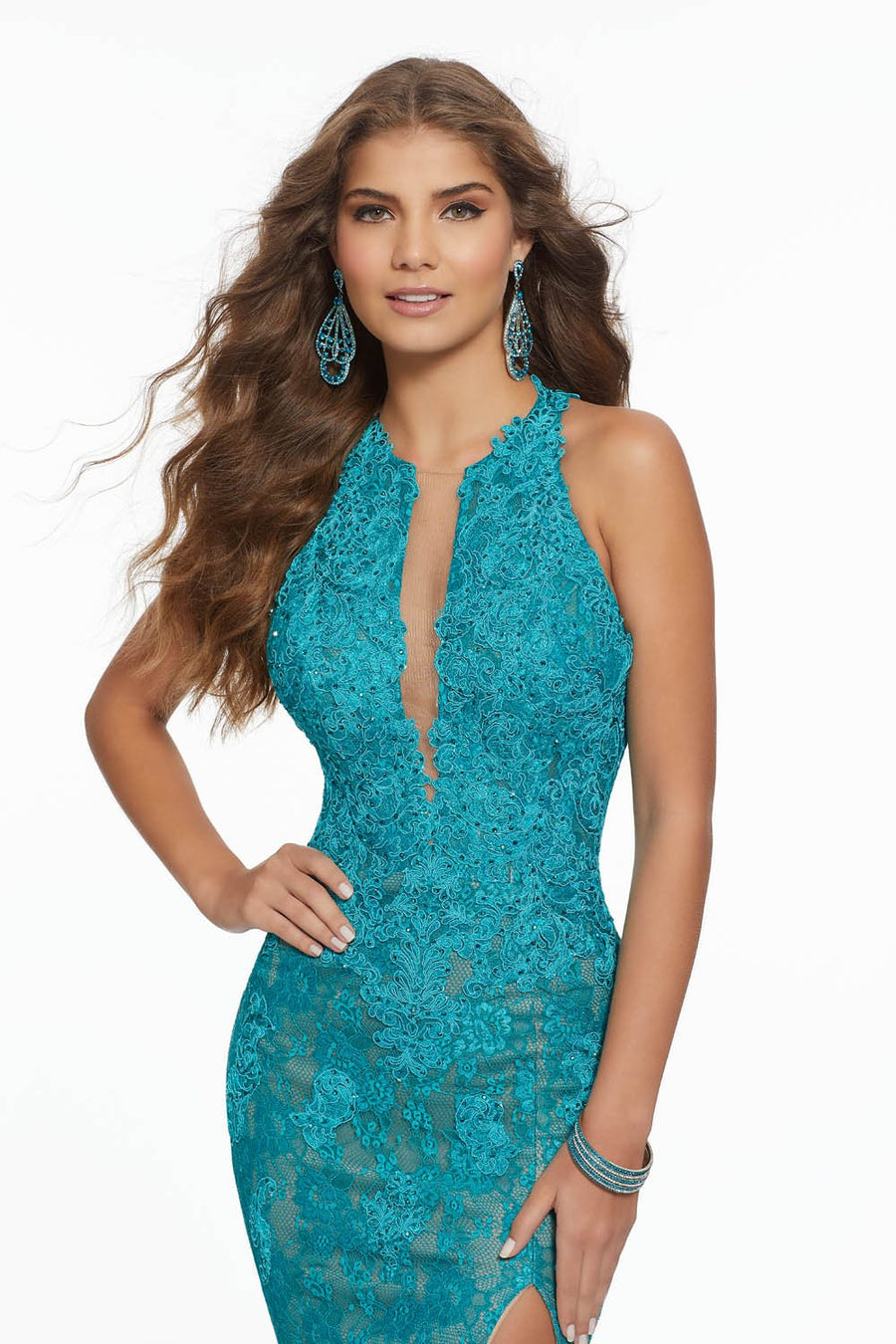 Morilee 43121 prom dress images.  Morilee 43121 is available in these colors: Black Nude, Teal Nude, White Nude.