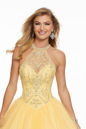 Morilee 43122 prom dress images.  Morilee 43122 is available in these colors: Capri, Scarlet, Yellow.