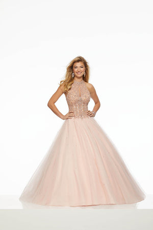Morilee 43128 prom dress images.  Morilee 43128 is available in these colors: Blueberry, Blush, Fuchsia.