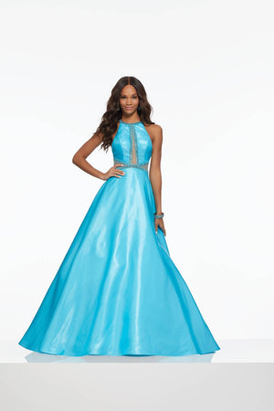 Morilee 43129 prom dress images.  Morilee 43129 is available in these colors: Turquoise, Yellow.