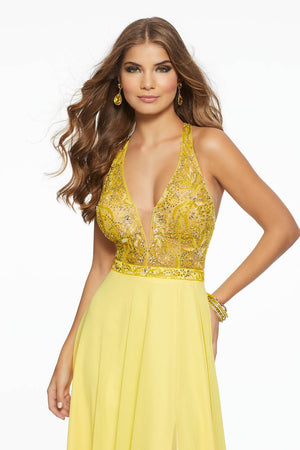 Morilee 43130 prom dress images.  Morilee 43130 is available in these colors: Fuchsia, Yellow.