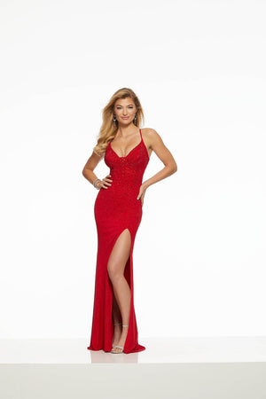 Morilee 43133 prom dress images.  Morilee 43133 is available in these colors: Black Gold, Purple, Red.