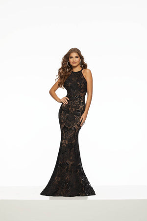 Morilee 43135 prom dress images.  Morilee 43135 is available in these colors: Black Nude, Cherry.