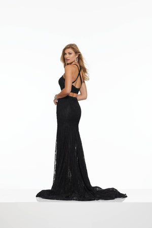 Morilee 43136 prom dress images.  Morilee 43136 is available in these colors: Ivory Nude, Black.