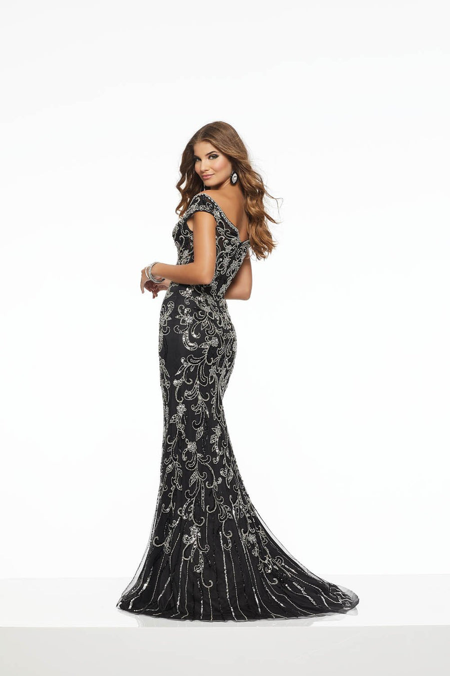 Morilee 43144 prom dress images.  Morilee 43144 is available in these colors: Black Silver.