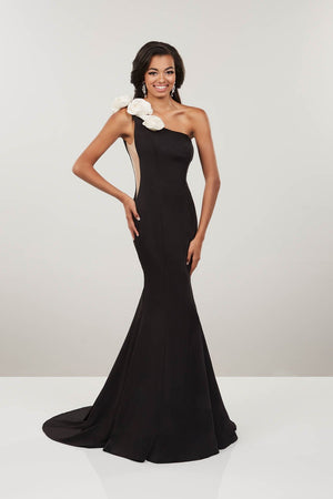 Panoply 14910 prom dress images.  Panoply 14910 is available in these colors: Black Pink, Black White.