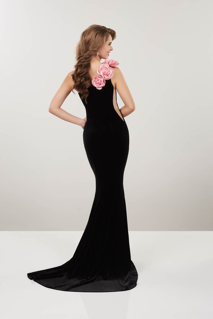 Panoply 14910V prom dress images.  Panoply 14910V is available in these colors: Black Pink, Black White.