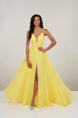 Panoply 14912 prom dress images.  Panoply 14912 is available in these colors: Black, Bright Aqua, Canary, Cerise.