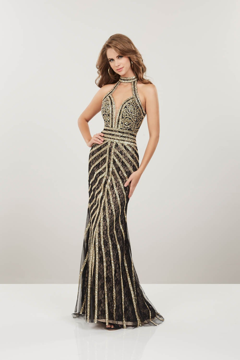 Panoply 14915 prom dress images.  Panoply 14915 is available in these colors: Black Rose Gold Nude, Blush Rose Gold.