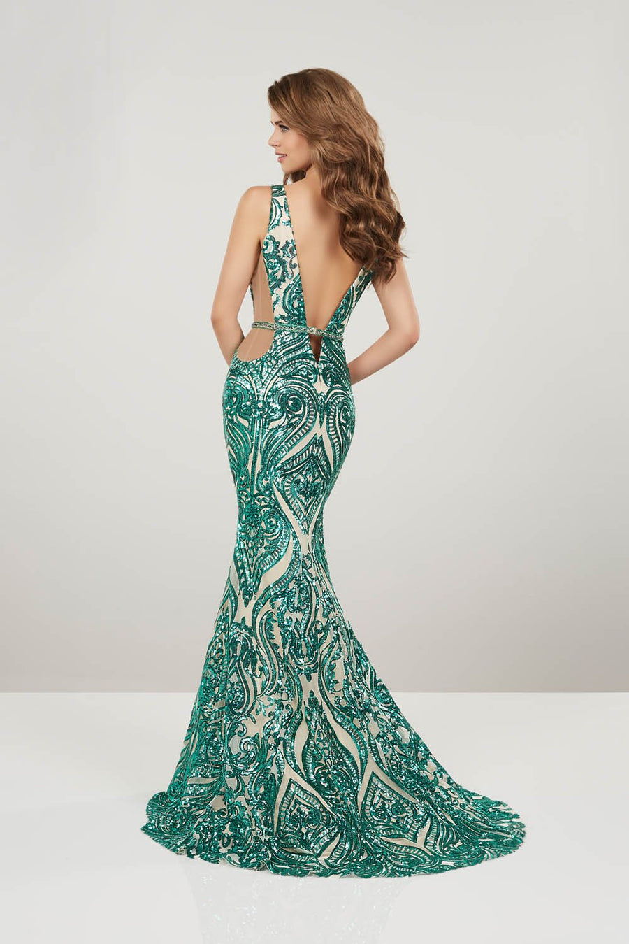 Panoply 14916 prom dress images.  Panoply 14916 is available in these colors: Emerald Nude, Red Nude.