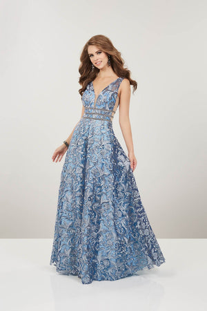Panoply 14918 prom dress images.  Panoply 14918 is available in these colors: Blush Gold, Steel Blue.