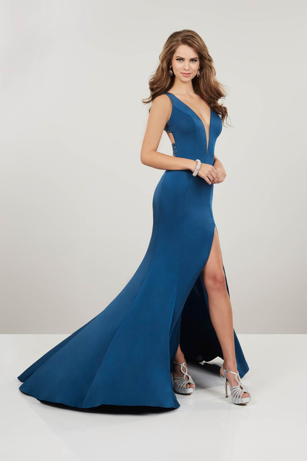 Panoply 14919 prom dress images.  Panoply 14919 is available in these colors: Black, Lilac, Peacock.