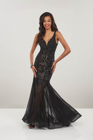 Panoply 14925 prom dress images.  Panoply 14925 is available in these colors: Black, Emerald.