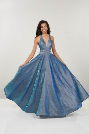 Panoply 14926 prom dress images.  Panoply 14926 is available in these colors: Blue, Gold, Gunmetal.
