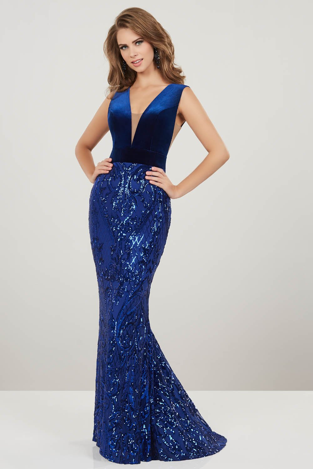 Panoply 14927 prom dress images.  Panoply 14927 is available in these colors: Royal, Wine.