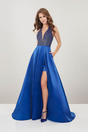 Panoply 14929 prom dress images.  Panoply 14929 is available in these colors: Fuchsia, Royal.