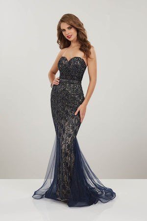 Panoply 14930 prom dress images.  Panoply 14930 is available in these colors: Navy Nude, Red Nude.