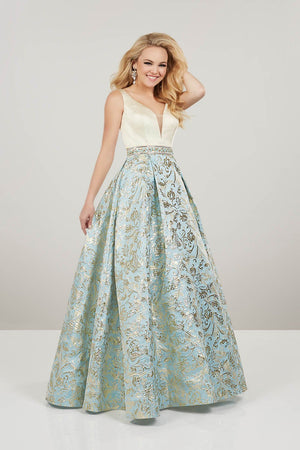 Panoply 14931 prom dress images.  Panoply 14931 is available in these colors: Gold Gold, Sky Gold.