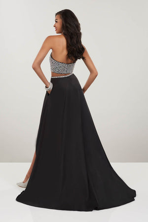 Panoply 14935 prom dress images.  Panoply 14935 is available in these colors: Black, Sky.