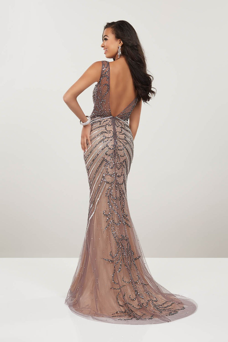 Panoply 14936 prom dress images.  Panoply 14936 is available in these colors: Gold Nude, Gunmetal Nude.