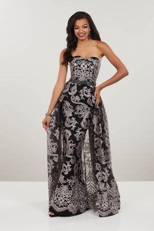 Panoply 14937 prom dress images.  Panoply 14937 is available in these colors: Black Blush, Black Emerald, Black Turquoise.