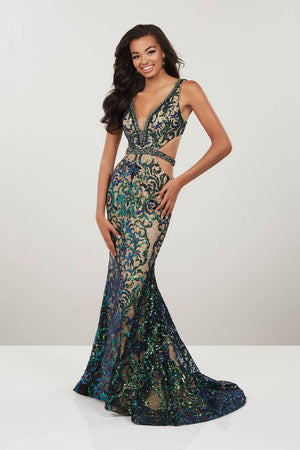 Panoply 14939 prom dress images.  Panoply 14939 is available in these colors: Peacock Nude.