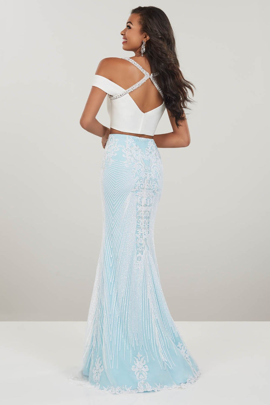Panoply 14940 prom dress images.  Panoply 14940 is available in these colors: Black Gold, Ivory Sky.