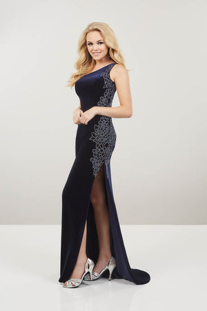 Panoply 14941 prom dress images.  Panoply 14941 is available in these colors: Black Emerald, Navy.