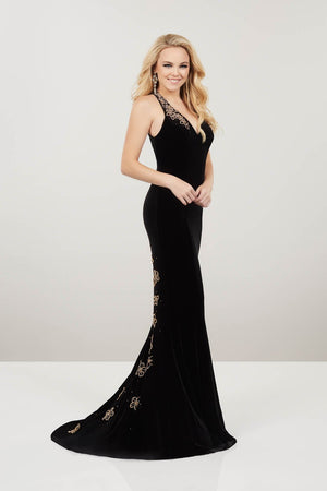 Panoply 14948 prom dress images.  Panoply 14948 is available in these colors: Black Emerald, Black Fuchsia, Black Gold.