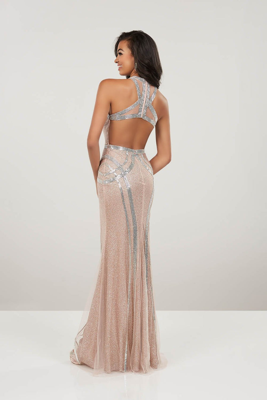 Panoply 14949 prom dress images.  Panoply 14949 is available in these colors: Black, Rose Gold.
