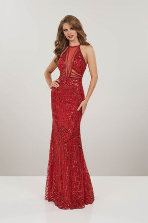 Panoply 14950 prom dress images.  Panoply 14950 is available in these colors: Red, Silver.