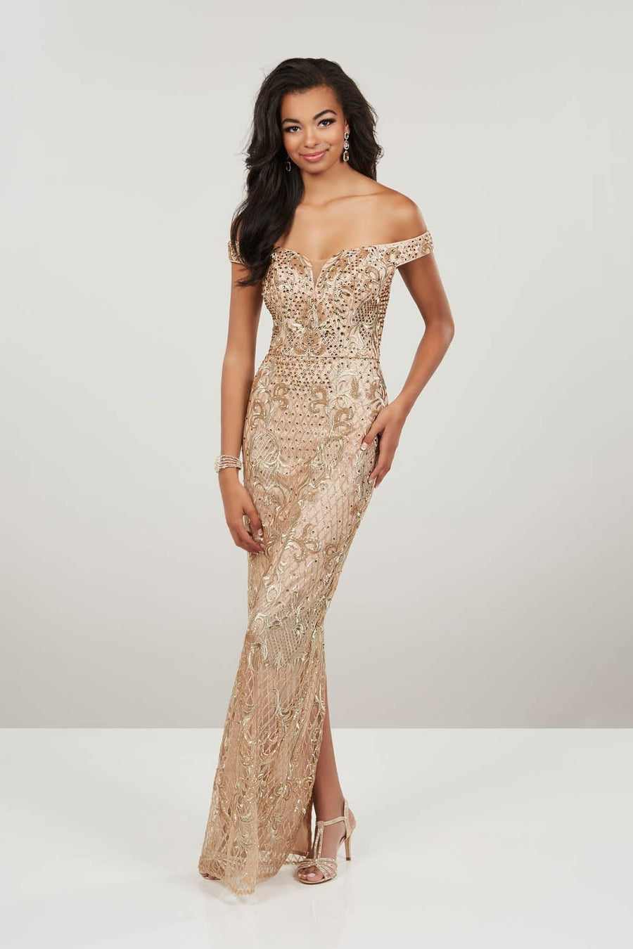 Panoply 14955 prom dress images.  Panoply 14955 is available in these colors: Gold, Red.