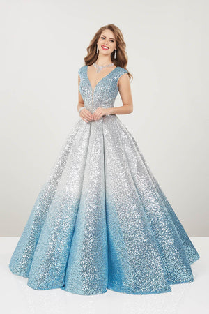 Panoply 14961 prom dress images.  Panoply 14961 is available in these colors: Black Silver, Champagne Gold, Silver Sky, Wine Rose Gold.