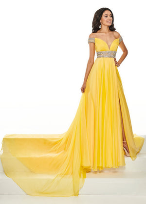 PrimaDonna by Rachel Allan 5105 prom dress images.  PrimaDonna by Rachel Allan 5105 is available in these colors: Yellow, Coral.