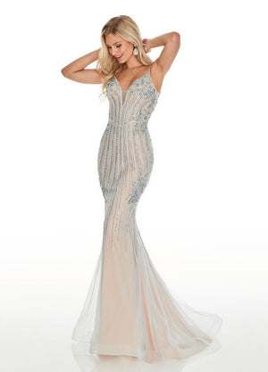 Rachel Allan 7000 prom dress images.  Rachel Allan 7000 is available in these colors: Black Nude, Sky Blue Nude, Red Nude.