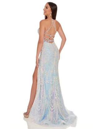 Rachel Allan 70003 prom dress images.  Rachel Allan 70003 is available in these colors: Light Blue Iridescent, Lilac Iridescent, Pink Iridescent.