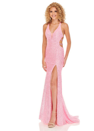 Rachel Allan 70008 prom dress images.  Rachel Allan 70008 is available in these colors: Pink, Sky Blue, Tangerine.