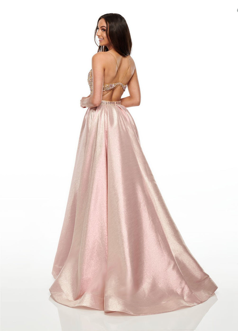 Rachel Allan 7002 prom dress images.  Rachel Allan 7002 is available in these colors: Blush Nude, Mint Nude, Sky Blue Nude.