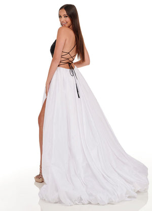 Rachel Allan 70021 prom dress images.  Rachel Allan 70021 is available in these colors: Black White, Red.