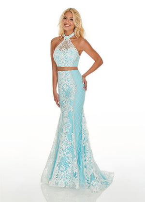 Rachel Allan 7003 prom dress images.  Rachel Allan 7003 is available in these colors: White Aqua, White Coral, White Nude.