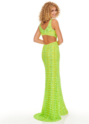 Rachel Allan 70030 prom dress images.  Rachel Allan 70030 is available in these colors: Gold, Neon Green.