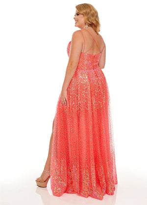 Rachel Allan 70047W prom dress images.  Rachel Allan 70047W is available in these colors: Coral Iridescent, White Iridescent.
